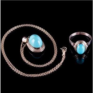 Vintage 1920's 14k Rose Gold Persian Turquoise Ring / Necklace Set 6.65ctw