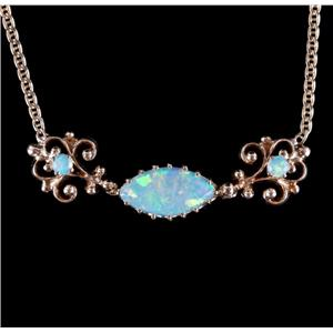 Vintage 1940's 14k Yellow Gold Marquise & Round Cut Opal Bar Necklace 1.09ctw