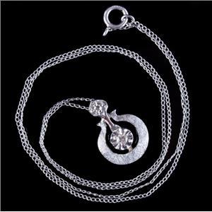 "Vintage 1940's 14k White Gold Round Cut Diamond Pendant W/ 16"" Chain .065ctw"