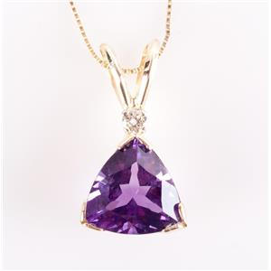 "14k Yellow Gold Trillion Cut Amethyst & Diamond Pendant W/ 24"" Chain 2.71ctw"