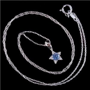 "14k White Gold Round Cut Sapphire & Diamond Star Pendant W/ 18"" Chain .29ctw"