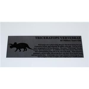Triceratops Vertebrae Dinosaur Fossil Large Metal Display Label 6x2 #11756 8o