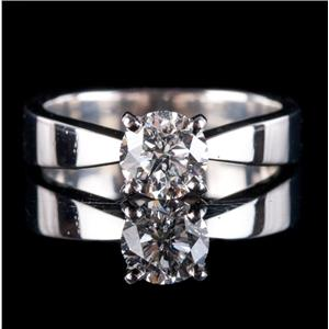 Platinum Round Brilliant Cut Diamond Solitaire Engagement Ring 1.01ct
