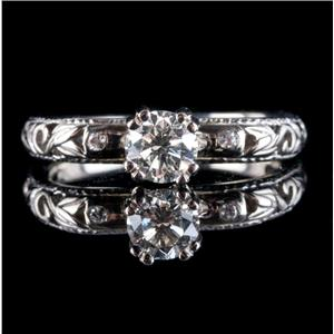 14k White Gold Round Cut Diamond Solitaire Engagement Ring W/ Accents .47ctw