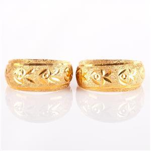 22k Yellow Gold Diamond Cut Floral Style Hoop Earrings W/ Hinged Posts 1.47g