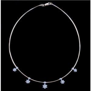 14k Yellow & White Gold Two-Tone Diamond Round Omega Flower Necklace .98ctw
