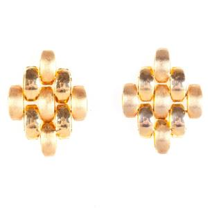 18k Yellow Gold Hollow Link Style Stud Earrings W/ Butterfly Backs 3.16g