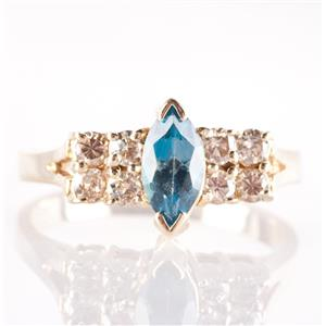 14k Yellow Gold Marquise Cut London Blue Topaz & Brown Diamond Ring .90ctw