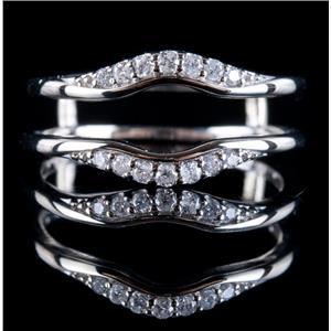 14k White Gold Round Cut Diamond Engagement Ring Jacket / Guard .15ctw