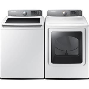 "Samsung 27"" White Smart Care Washer And  Dryer set WA48H7400AW/ DV48H7400EW"