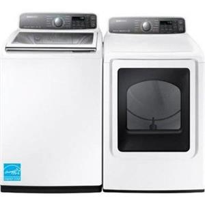 "Samsung White 27"" Active Sink Washer And Gas Dryer WA48J7700AW/ DV48J7700GW"