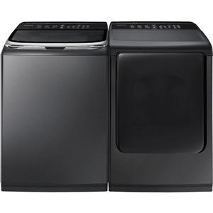 "Samsung Black SS 27"" Electric Washer And Dryer set WA50K8600AV/ DV50K8600EV"