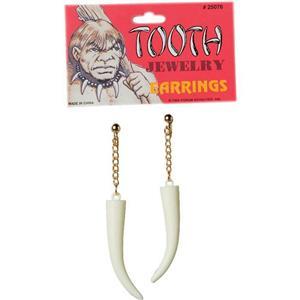 Prehistoric Caveman Cavewoman Costume Sabre Tooth Earrings