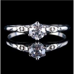 Vintage 1930 14k White Gold Old Euro Cut Diamond Solitaire Engagement Ring .34ct