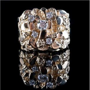 14k Yellow Gold Round Cut Diamond Nugget Style Ring .48ctw 14.58g Size 9.75