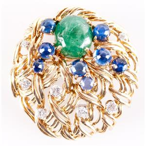 18k Yellow Gold Cabochon Cut Emerald & Sapphire & Diamond Pin / Brooch 15.04ctw