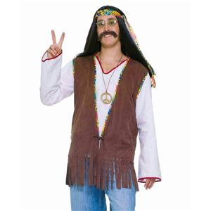 Brown Fringed Male 60's Faux Suede Hippie Vest