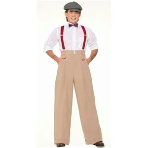 Roaring 20's Mens Costume Wide Leg Pleated Cream Trousers Pants Standard Size