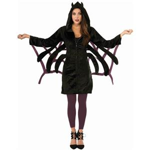 Black Spider Hoodie Jacket Adult Size Costume
