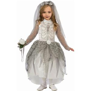 Forum Skeleton Bride Girl Child Costume Size Medium 8-10