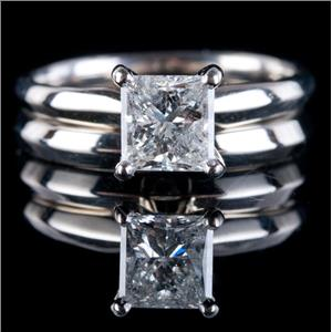 14k White Gold Princess Cut Diamond Solitaire Engagement Wedding Ring Set 1.20ct