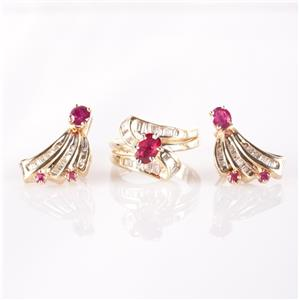 14k Yellow Gold Round & Oval Cut Ruby & Diamond Ring / Earring Set 2.58ctw