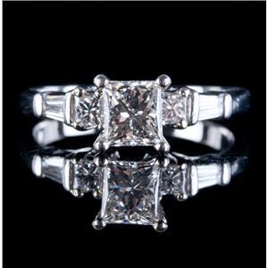 Platinum Princess Cut Diamond Solitaire Engagement Ring W/ Accents 1.06ctw