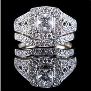 14k White Gold Princess Cut Diamond Halo Engagement Wedding Ring Set 1.02ctw
