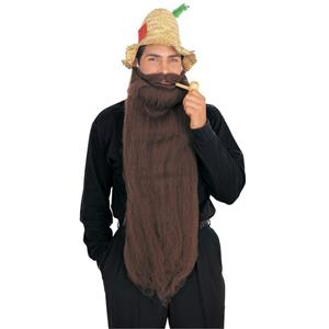 Brown Super Long Mohair Beard and Moustache Set