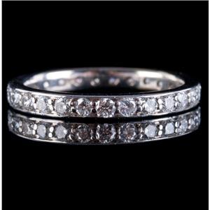 18k White Gold Round Cut Diamond Eternity Wedding / Anniversary Band .81ctw
