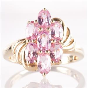 10k Yellow Gold Oval Cut Pink Sapphire Cluster / Cocktail Ring 2.20ctw