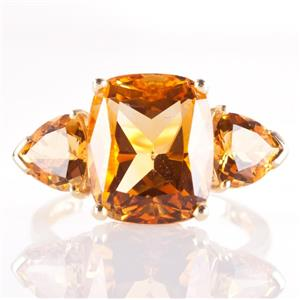 14k Yellow Gold Antique Cushion & Trillion Cut Citrine Three-Stone Ring 6.45ctw