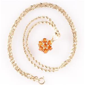 "14k Yellow Gold Round Cut Orange Sapphire Cluster Pendant W/ 15.5"" Chain 1.15ctw"