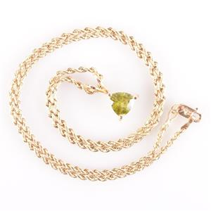 "14k Yellow Gold Trillion Cut Peridot Solitaire Pendant W/ 16"" Chain 1.50ctw"