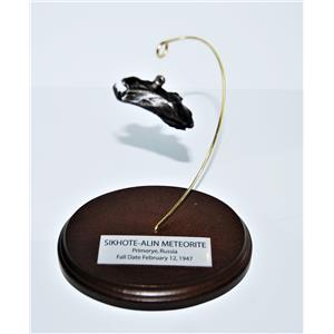 SIKHOTE-ALIN METEORITE 43.4 gm w/ Wood Display Stand, Label, and COA #13680 14o