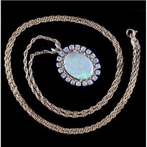 "Vintage 1960s 14k Two-Tone Gold Opal & Diamond Halo Pendant W/ 24"" Chain 6.90ctw"