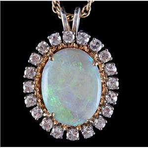 "Vintage 1960s 14k Two-Tone Gold Opal & Diamond Halo Pendant W/ 24"" Chain 6.90ctw"