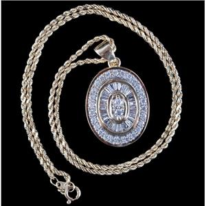 "14k Yellow / White Gold Round & Baguette Cut Diamond Pendant W/ 15"" Chain 1.2ctw"