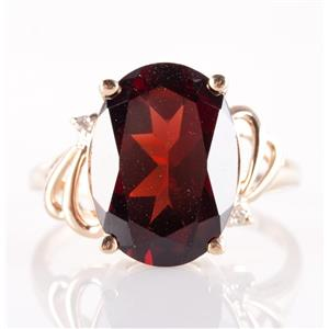 14k Yellow Gold Oval Cut Garnet Solitaire Ring W/ Diamond Accents 6.82ctw