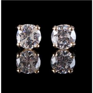 14k Yellow Gold Round Cut Diamond Solitaire Stud Earrings .32ctw