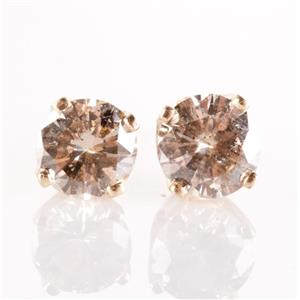 14k Yellow Gold Round Cut Top Light Brown Diamond Solitaire Stud Earrings .48ctw