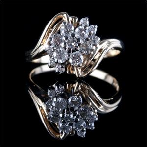 14k Yellow Gold Round Cut Diamond Floral Cluster Ring .545ctw