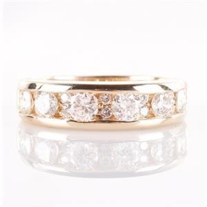 14k Yellow Gold Round Cut Channel Set Diamond Wedding / Anniversary Band .80ctw