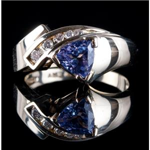14k Yellow Gold Trillion Cut Tanzanite Solitaire Ring W/ Diamond Accents 1.03ctw
