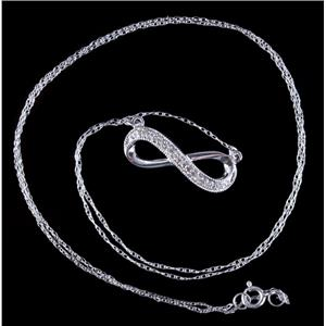 10k White Gold Single Round Cut Diamond Infinity Style Necklace .085ctw