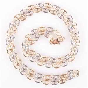 """14k Yellow & White Gold Two-Tone Italian Made Anchor Chain 18"""" Length 11.48g"""
