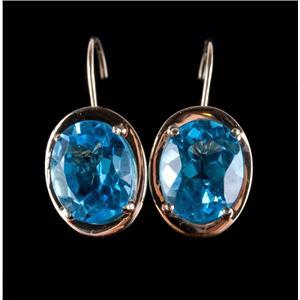14k Yellow Gold Oval Cut Swiss Blue Topaz Dangle Earrings W/ Leverbacks 3.2ctw