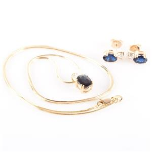14k Yellow Gold Oval Cut Lab Sapphire & Diamond Necklace / Earring Set 4.29ctw