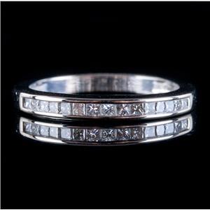 14k White Gold Princess Cut Diamond Channel Set Wedding / Anniversary Ring .52ct
