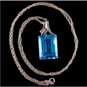 "10k Yellow Gold AAA Swiss Blue Topaz Solitaire Pendant W/ 18"" Chain 14.95ct"